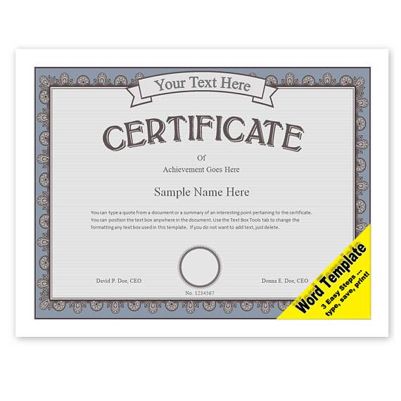 CERTIFICATE Editable Word Template, Printable, Instant Download - certificate of achievement word template