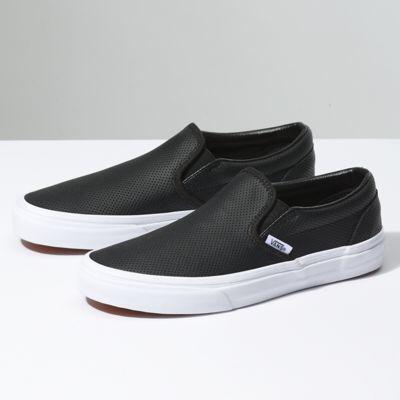 Leather slip on shoes, Black leather vans