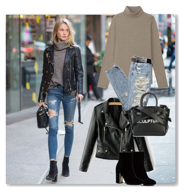 """Leather Jacket"" by annazonno ❤ liked on Polyvore featuring Off-White"