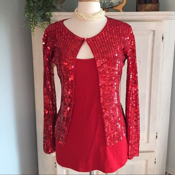 Nida International red sequins cardigan | Retail, Moda and Sequin ...