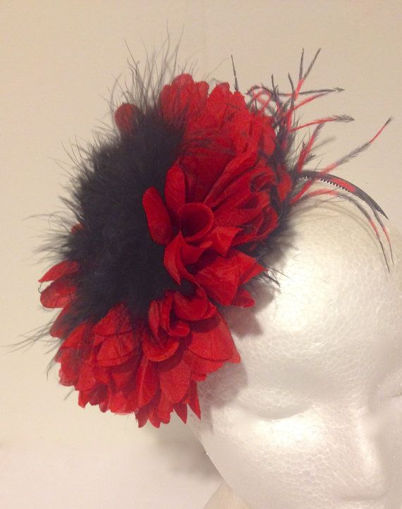 Red Black Feather Flower Headband Fascinator 4573c89f7b8