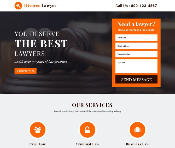 best divorce lawyer landing page templates free landing page
