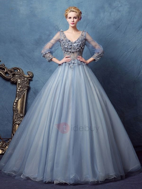 Vintage V-Neck Long Sleeves Flowers Lace Ball Gown Dress | beautiful ...