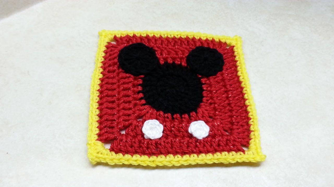 Crochet Mickey Mouse Granny Square #TUTORIAL | CROchet DISHcloths ...