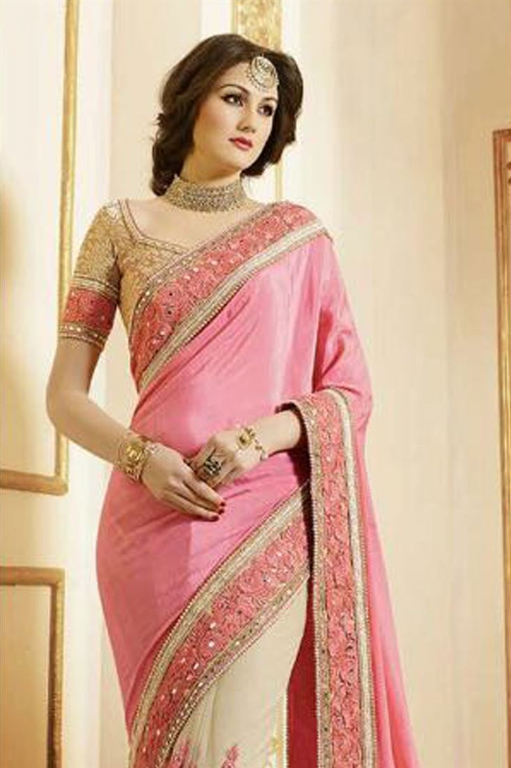Graceful Pink And Cream Color Designer Sarees | WD | Pinterest
