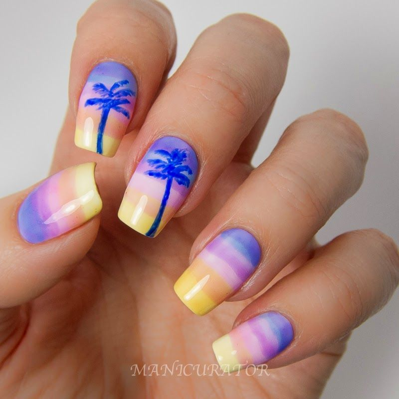 Fake Nail Ideas For Summer - Sheer Tints And Blue Acrylic Paint For The Palm Trees. Description