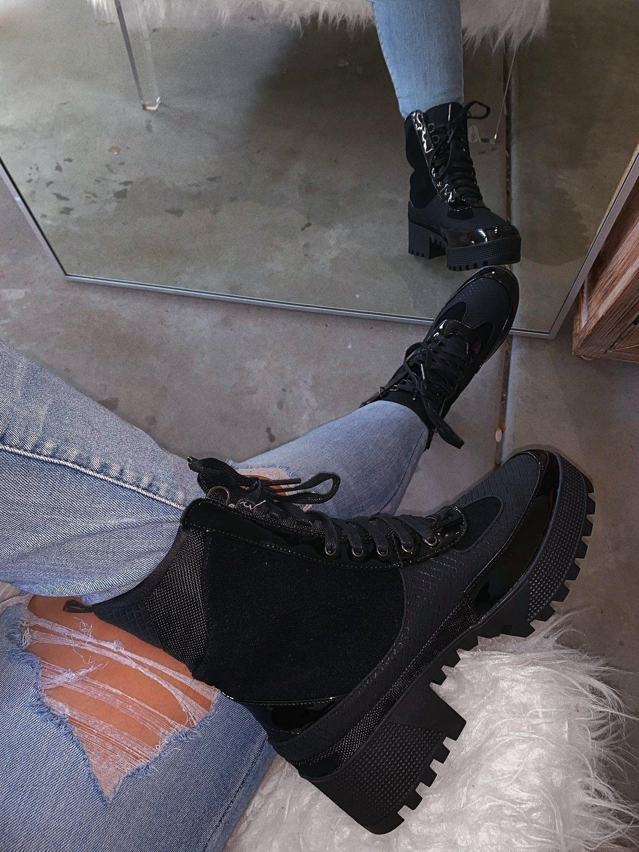 Zoe Combat Boot  Black is part of Combat boots heels, Combat boots, Boots, Black combat boots, Chunky boots, Combat boot outfits -  Chunky boot PU leather and suede  Pattern texture Runs big, model is an 8 5, wearing a size 8 Wide foot friendly
