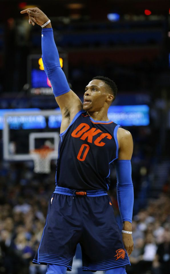 Oklahoma City's Russell Westbrook (0) reacts after a shot ...