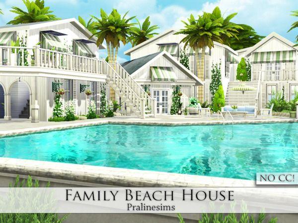 pralinesims family beach house ts4 cc sims 4 sims 4 houses rh pinterest com
