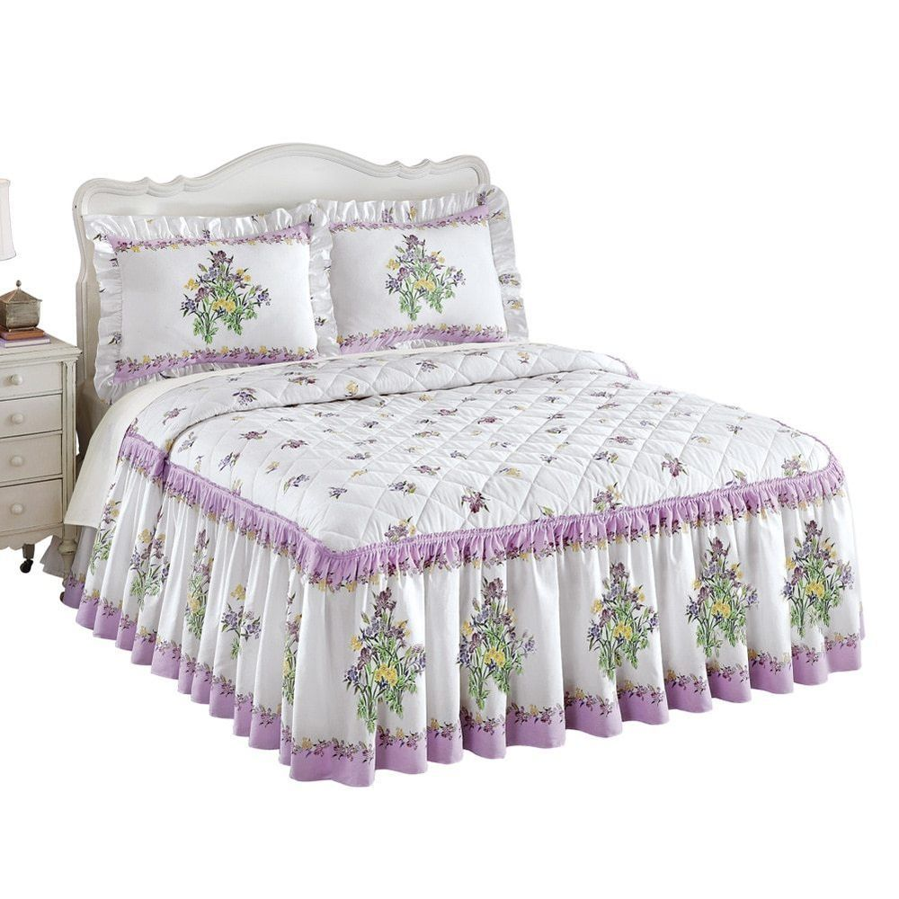 Ruffled iris bouquet bedspread by collections etc bed