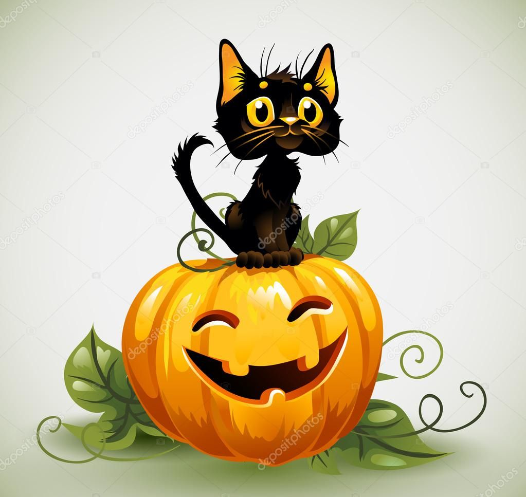 Depositphotos_12771056 Stock Illustration Black Cat On Halloween Pumpkin.