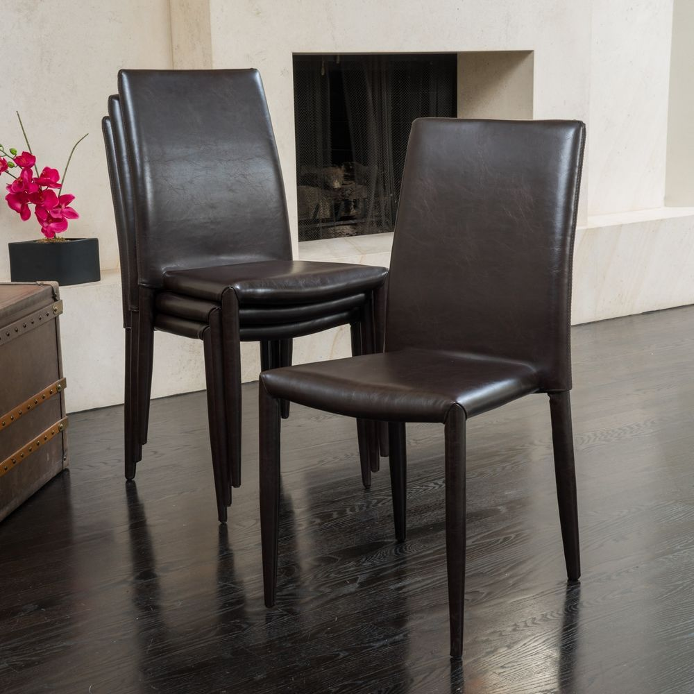 stackable dining room chairs sports chair covers comstock bonded leather set of 4 by christopher knight christopherknighthome casualcontemporarymoderntraditional