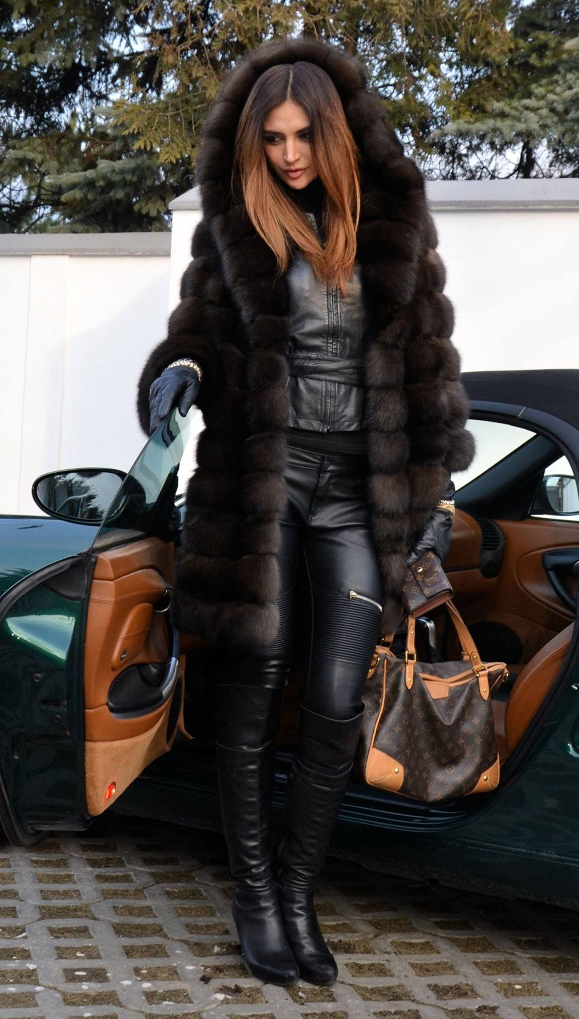 Lady's leather and fur outfits