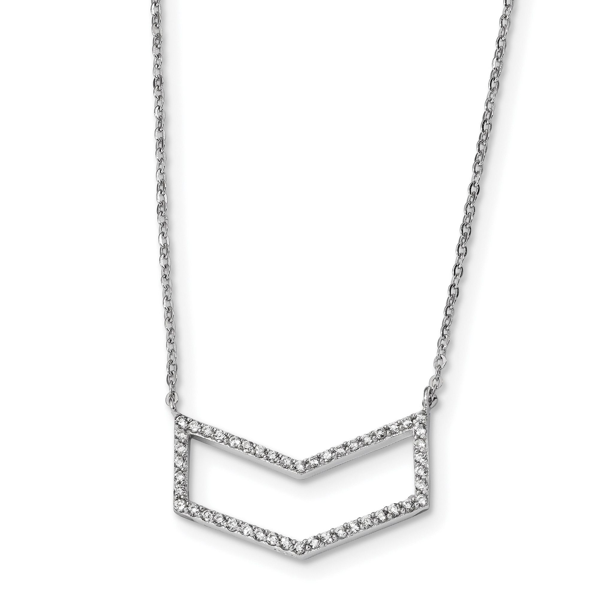Sterling Silver Rhodium-plated CZ Necklace QG4627-18