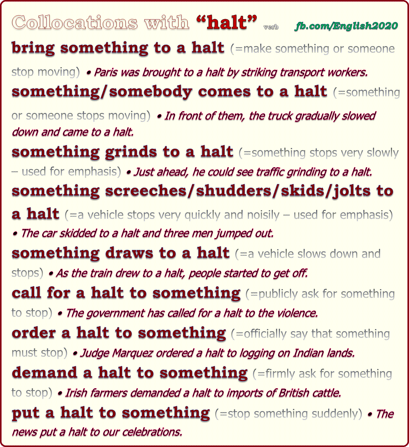 Collocations With Halt Learn English English Collocations Vocabulary