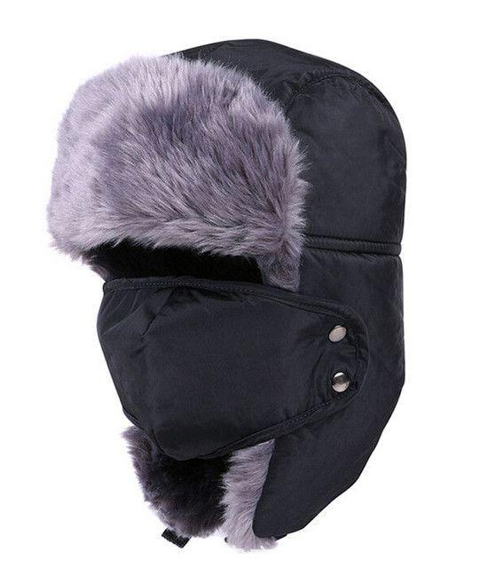 d44d703847d rRussian Earflap Winter black fur hats Outdoor Windproof Thick warm ...
