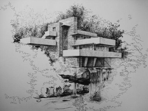 Falling water architecture skizzen architektur und zeichnen - Architektur skizzen zeichnen ...