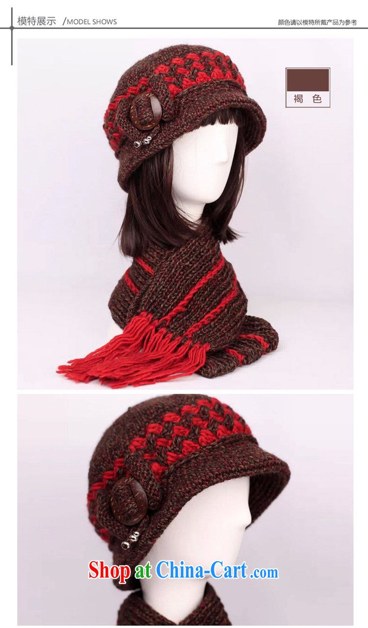 0968a89ed415e The old hat girls winter hat elderly ladies winter wool hat scarf two-piece  coconut