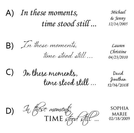 Personalized Wall Decal – In these moments, time stood still