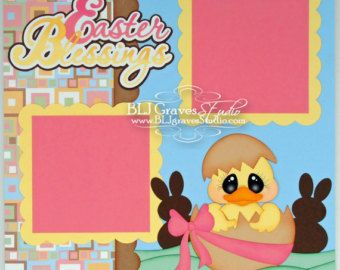 Premade Easter Bunny Scrapbook Page Boy Girl by bljgravesstudio