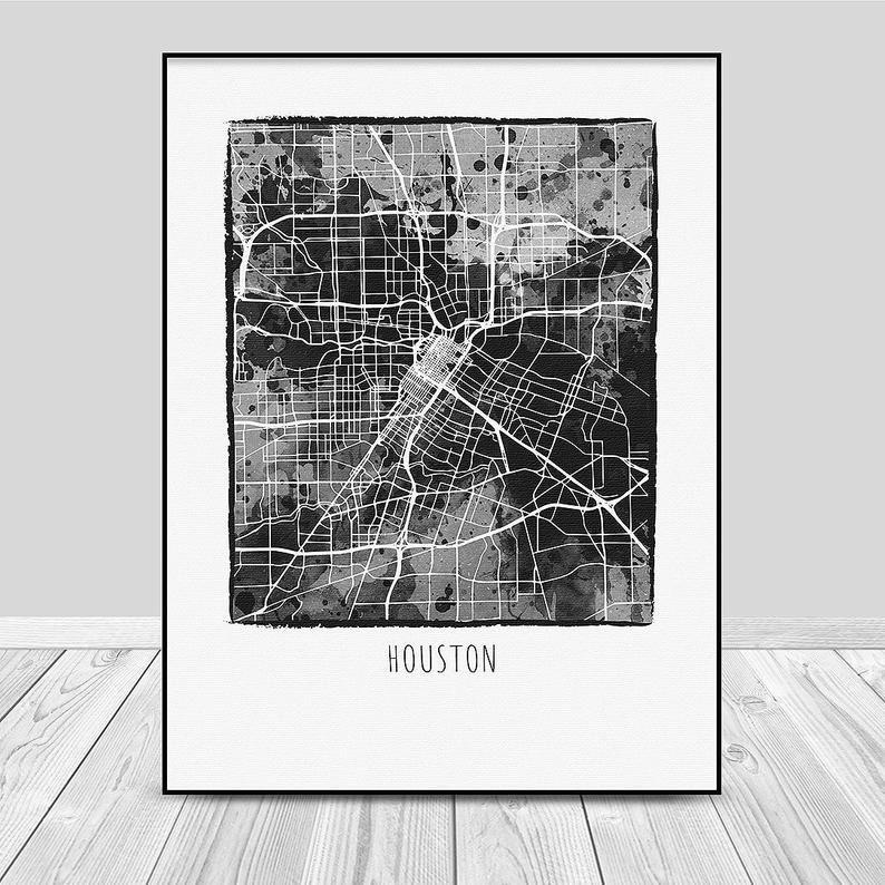 Houston Map Print Street Map Art Texas Map Poster Houston Etsy