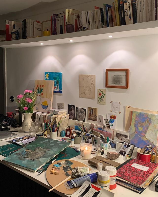 """Nina Koltchitskaia on Instagram: """"January 2nd 2021. Home. Atelier mess and dark paint that magically highlights the brightness of my painted dream. 🖤💚🤍💙…"""""""