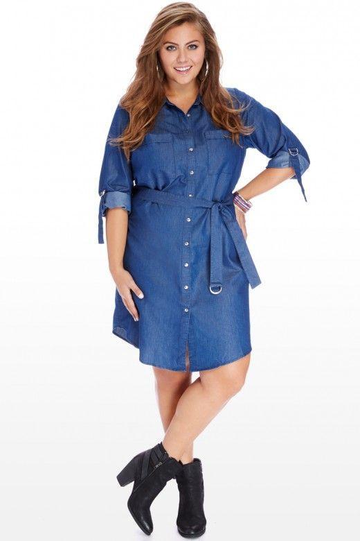Plus Size Denim Shirt Dress Fashion To Figure Denim Obsessed