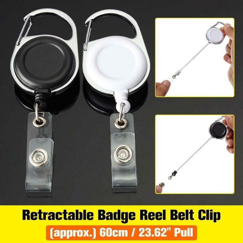 5X Retractable Metal Reel Badge ID Holder Belt Clip Recoil Name Key Ring