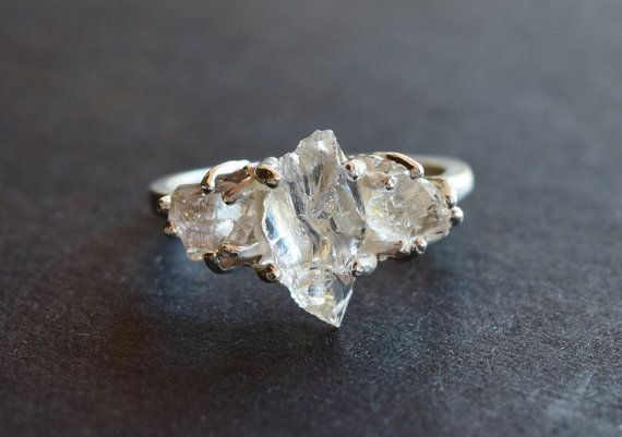 Herkimer Diamond /& Clear Quartz Ring Solid Sterling Silver size 6