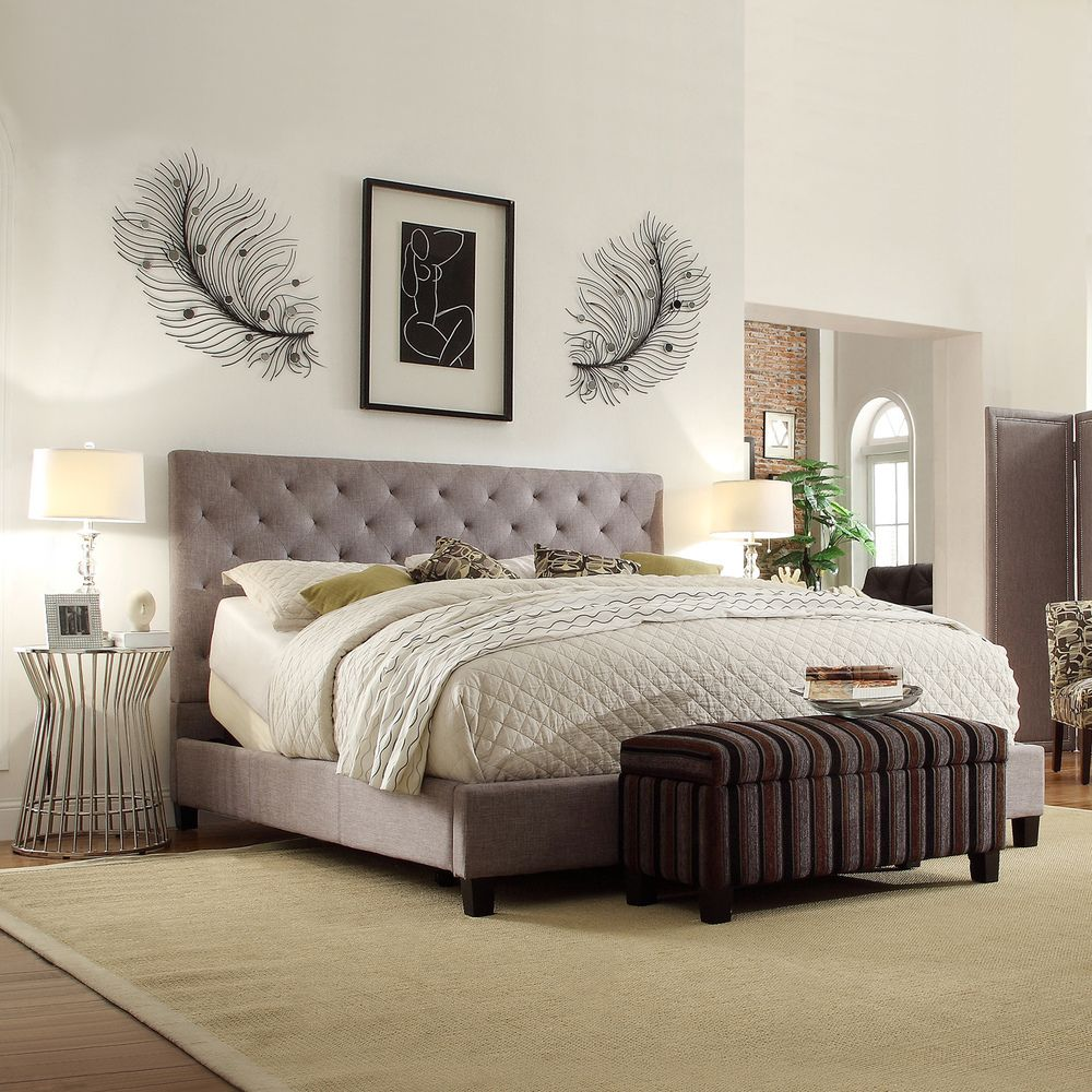 INSPIRE Q Kingsbury Grey Linen Tufted King-sized Upholstered Bed -  Overstock Shopping -