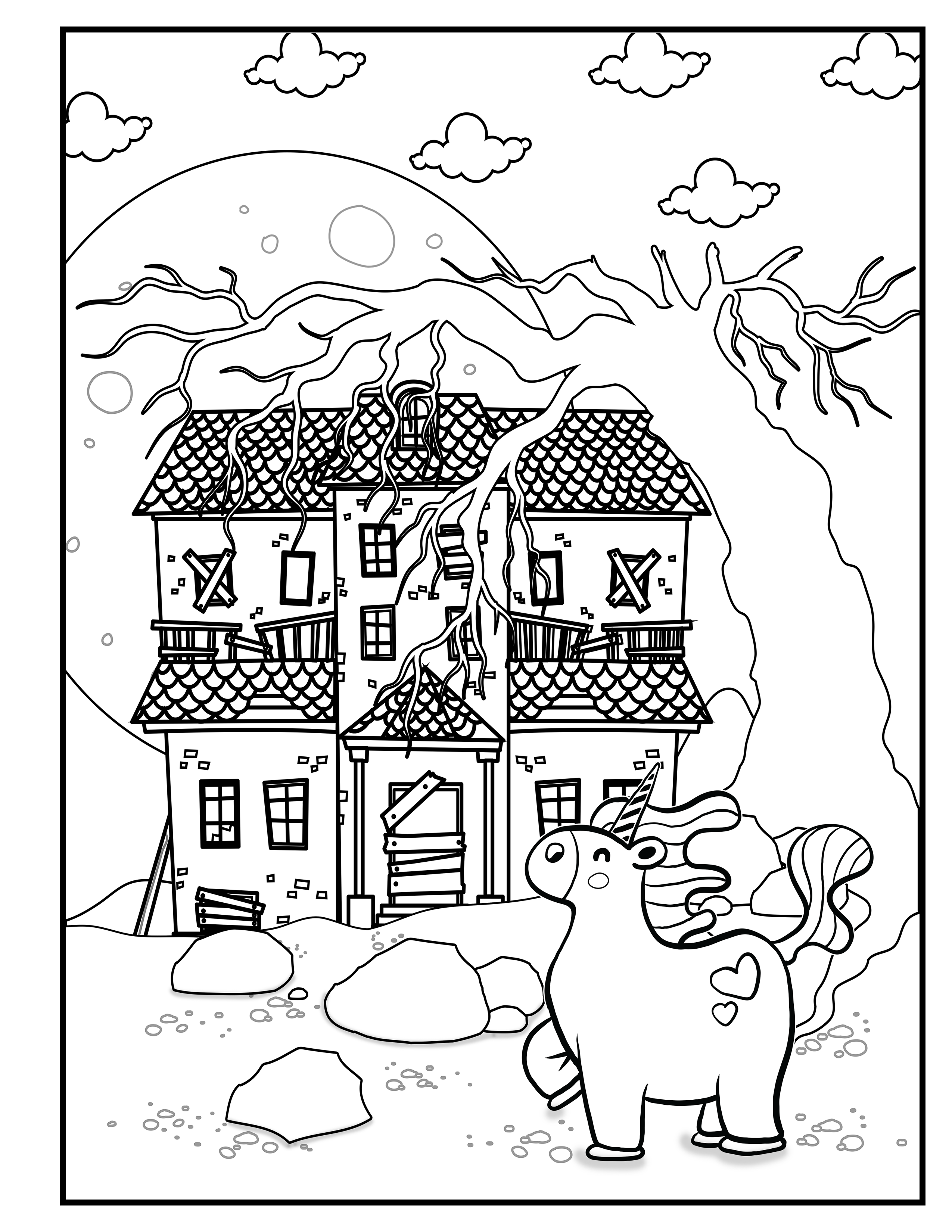 Unicorn Guards Creepy House Unicorn Halloween Unicorn Coloring Book For Kids Image 22 Coloring Books Halloween Coloring Book Coloring Pages For Boys