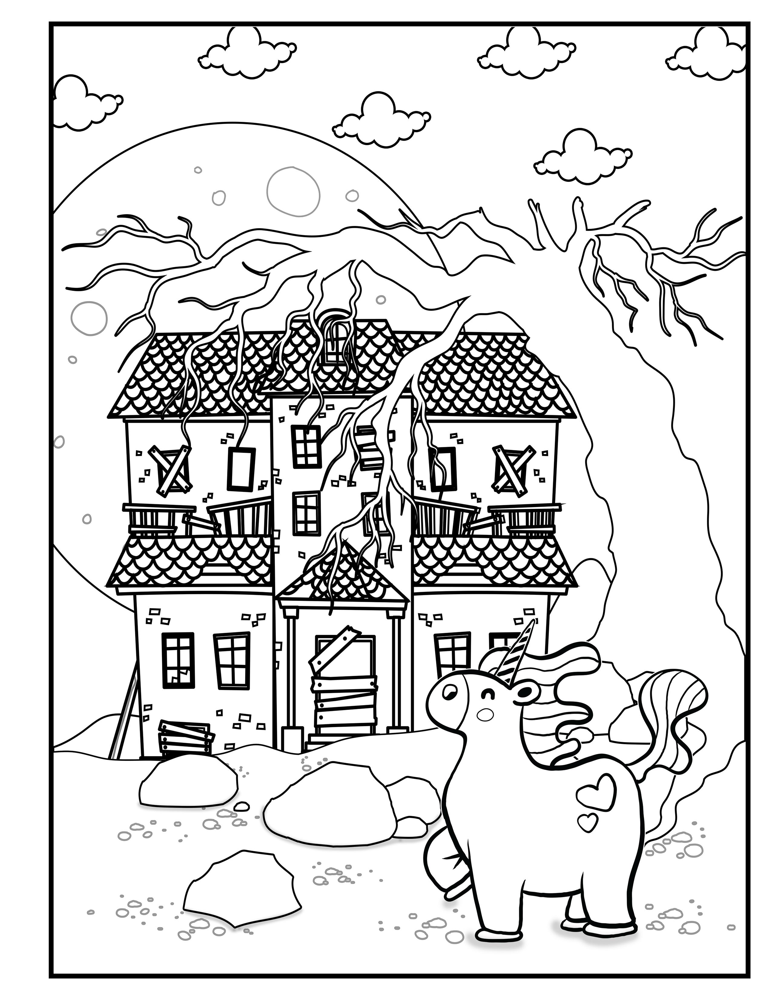 Unicorn Guards Creepy House Unicorn Halloween Unicorn Coloring Book For Kids Image 22 Coloring Books Halloween Coloring Book Coloring Pages For Boys