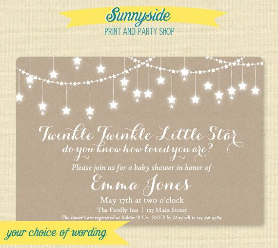 Printable Le Baby Shower Invitation Gender Neutral Star Invite Kraft Rustic