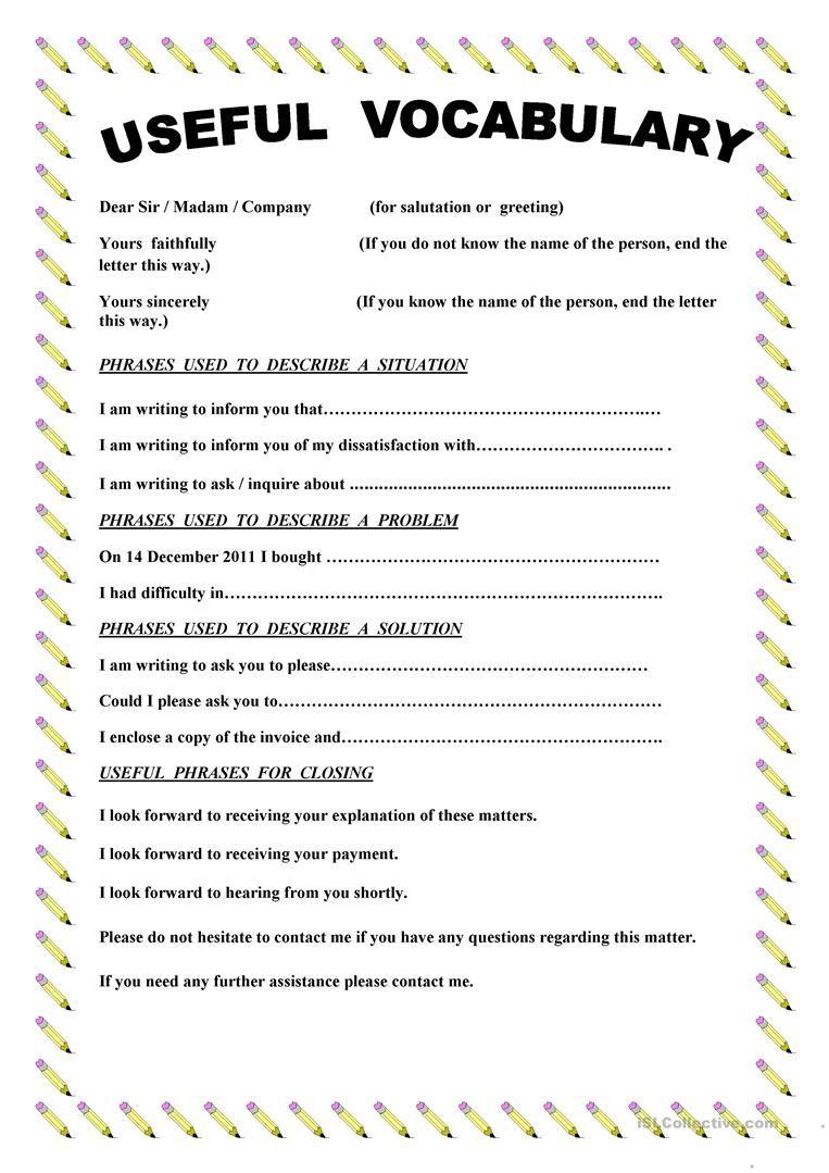 Writing a complaint letter worksheet Free ESL printable