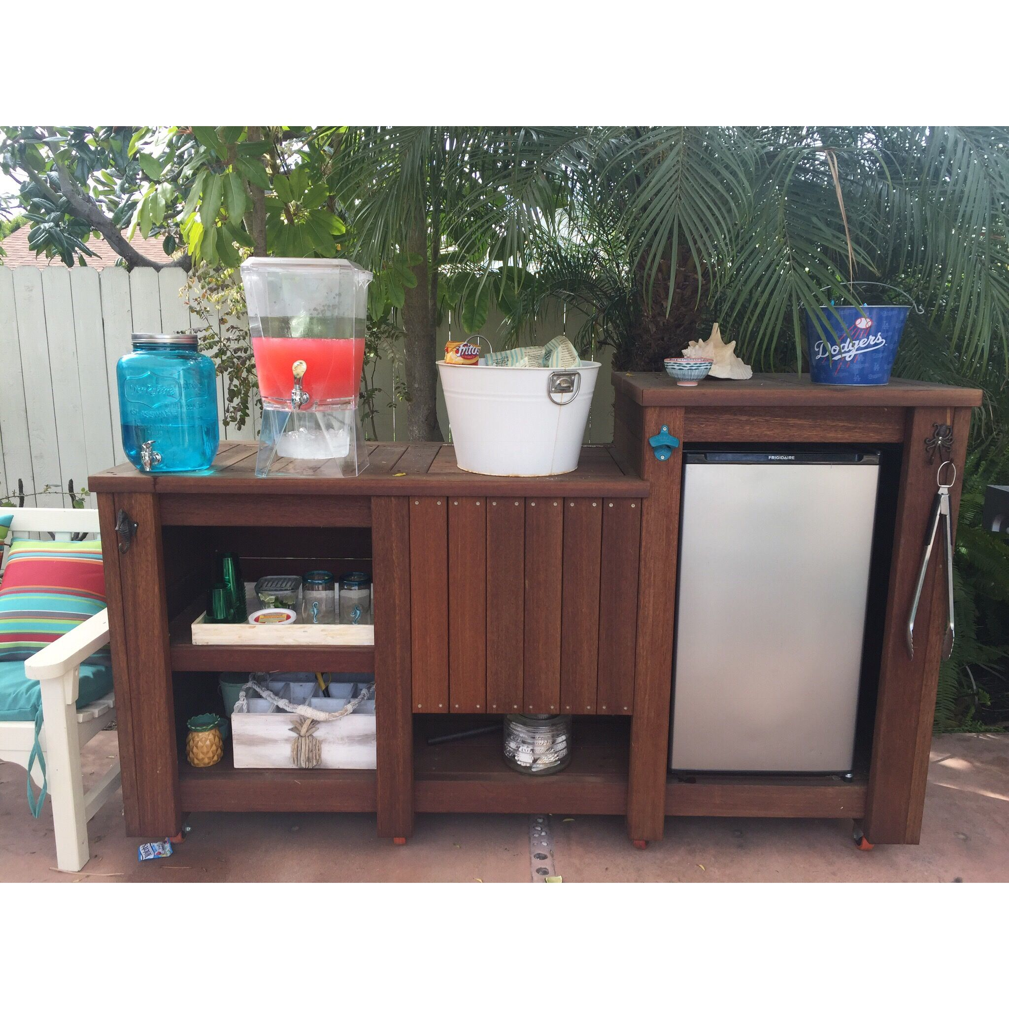 Outdoor Living Custom Tropical Wood Rolling Bar Cart With Mini Fridge And Built In Cooler Outdoorbar Ba Outdoor Fridge Outdoor Kitchen Bars Diy Outdoor Bar