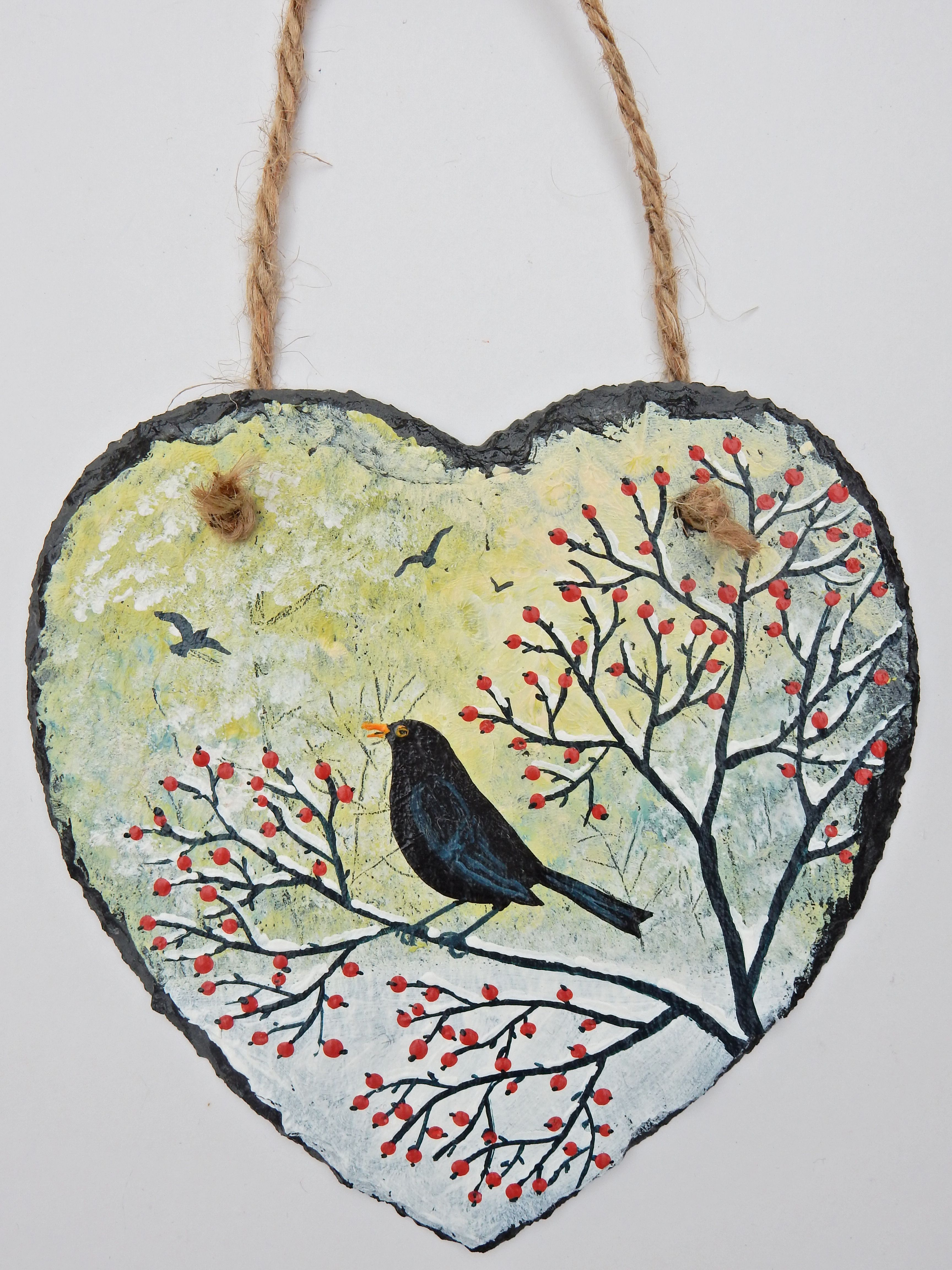 Singing in the Snow - acrylic on a 6 inch slate heart (SOLD)