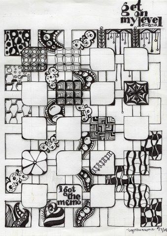Get On My Level (for The Diva's Challenge #153) - Zentangle inspired art - ink on paper -