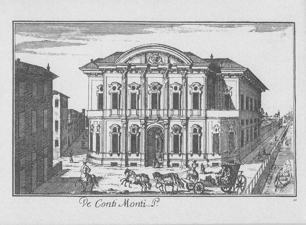 """Palazzo Sormani (Biblioteca Civica), via Francesco Sforza angolo corso di Porta Vittoria, Milano. Marc'Antonio Dal Re, """"Vedute di Milano"""", incisione 60 (ca. 1745)."""