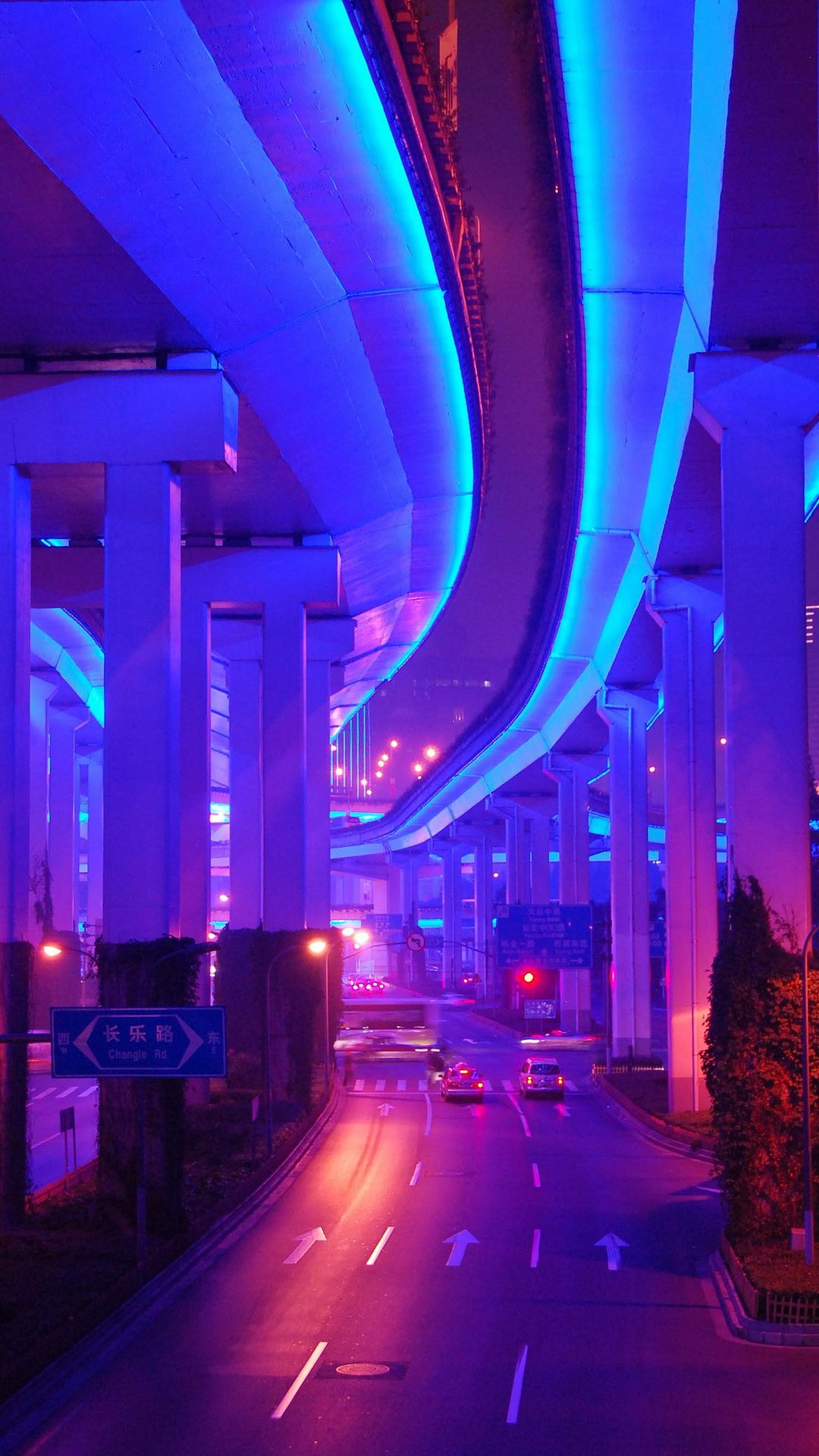 Vaporwave Road City Retro Color Blue Purple Aesthetic Neon Aesthetic Cyberpunk Aesthetic Neon