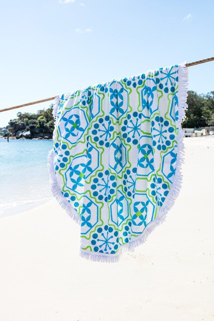 The Limited Edition Moroccan Mint Round Towel Boasts A Fun Bright Blue And Green Print With An Enormous Diameter You Can Fit Your Whole Posse
