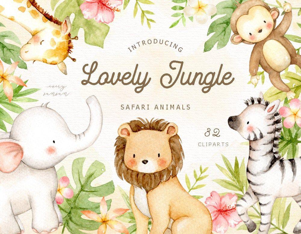 Lovely Jungle Watercolor Clip Art Safari Animal Woodland Animals Kids Clipart Boho Clipart Nursery Decor Nursery Clipart Tropical Animais Da Selva Clip Art Aquarela
