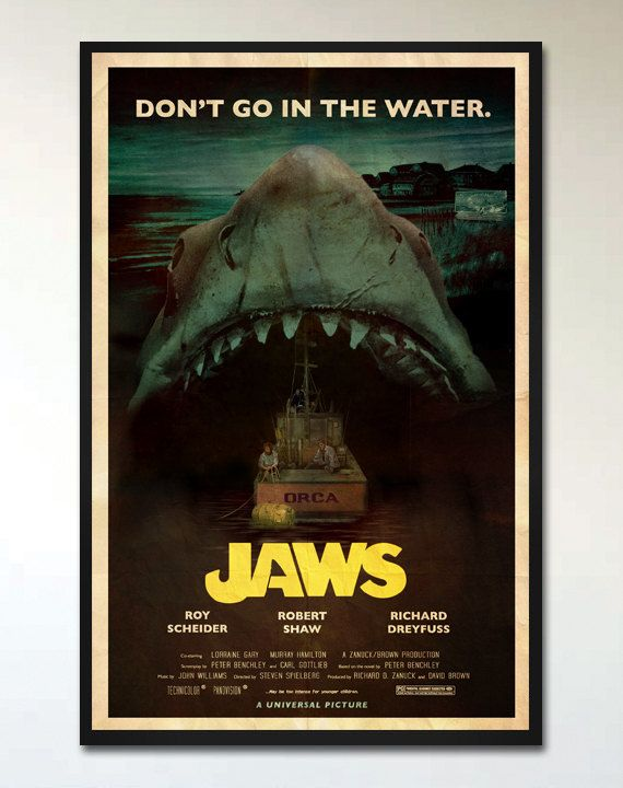 Jaws Vintage Style Retro Movie Poster Print 1970s Horror Movie Inspired Alternative Movie Pos Alternative Movie Posters Movie Posters Poster Prints