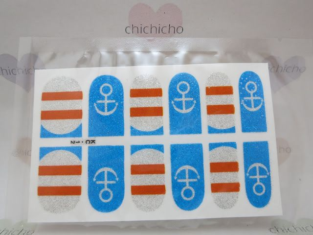 Glittery Nautical Nail Wrap | chichicho~ nail art addicts