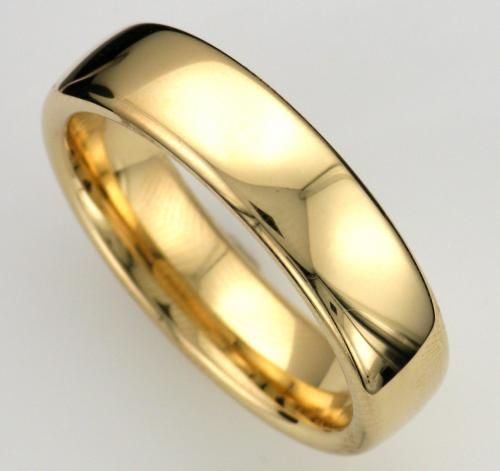 Men S 18k Yellow Gold Slightly Domed Style Wedding Band Measuring 6mm Wide With A High Polished Finish