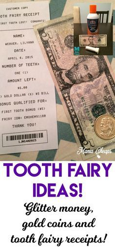 Money Receipts Tooth Fairy Ideas Glitter Money Gold Coins And Tooth Fairy .
