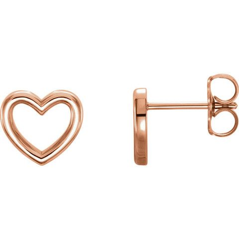 14 Karat Rose Gold Open Heart Earrings
