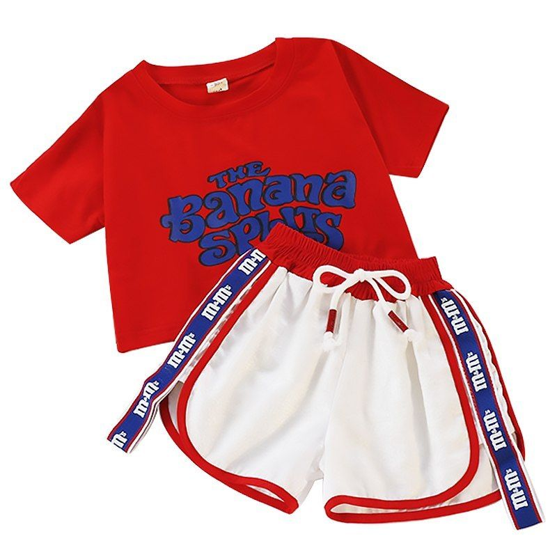 13b8f63df Summer Children Fashion 2Pcs Clothing Kids Girls Letter Print Short Sleeve T  shirt+Shorts Set