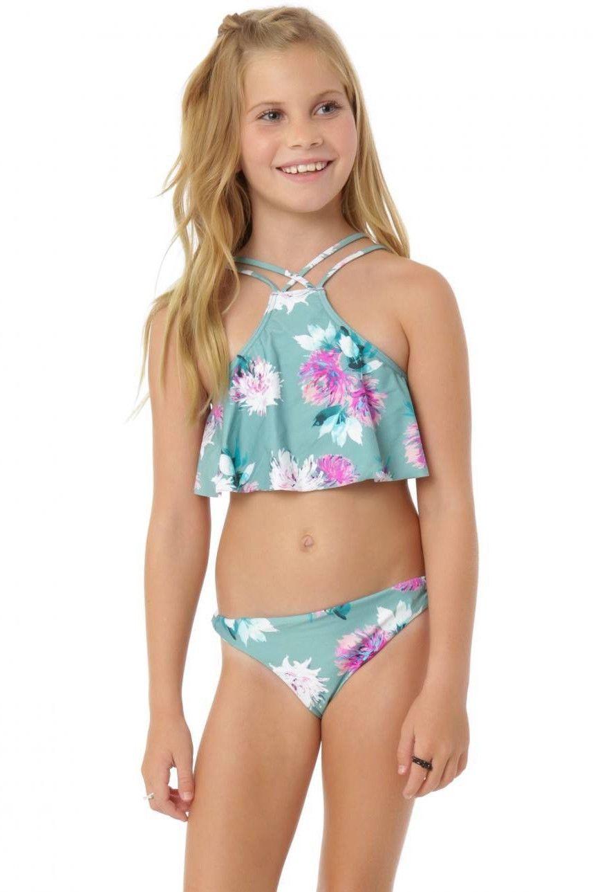 70106ca536 O'Neill Girls - Riviera Ruffles High Neck Halter Swim Set   Cyclorama