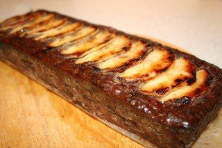 Terrine of chicken liver with apples.