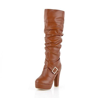 Shoes For Women Fashion Boots Chunky Heel Knee High Boots With Buckle More Colors